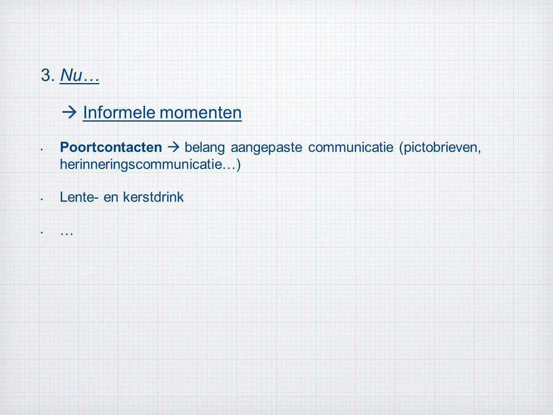 3. Nu…  Informele momenten Poortcontacten  belang aangepaste communicatie (pictobrieven, herinneringscommunicatie…) Lente- en kerstdrink …