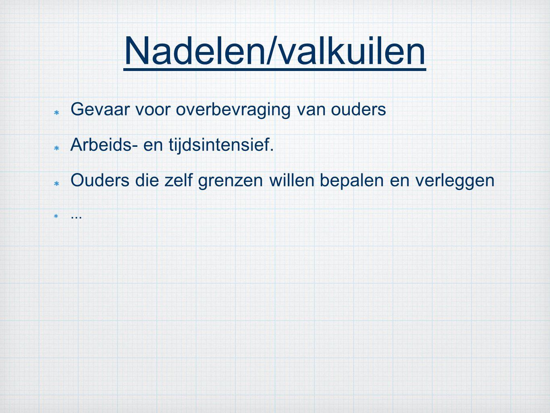 Nadelen/valkuilen Gevaar voor overbevraging van ouders Arbeids- en tijdsintensief.