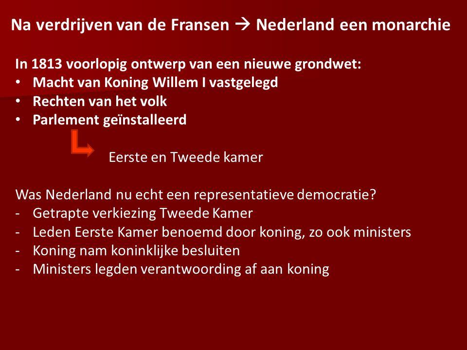 Na verdrijven van de Fransen  Nederland een monarchie In 1813 voorlopig ontwerp van een nieuwe grondwet: Macht van Koning Willem I vastgelegd Rechten