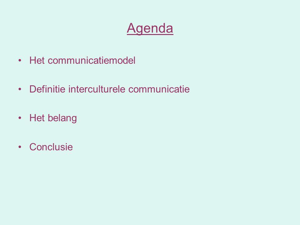 Agenda Het communicatiemodel Definitie interculturele communicatie Het belang Conclusie