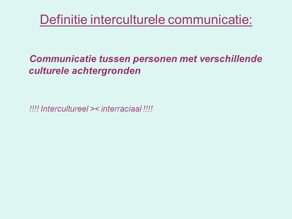 Communicatie tussen personen met verschillende culturele achtergronden !!!! Intercultureel >< interraciaal !!!! Definitie interculturele communicatie: