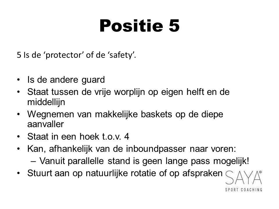 Positie 5 5 Is de 'protector' of de 'safety'.