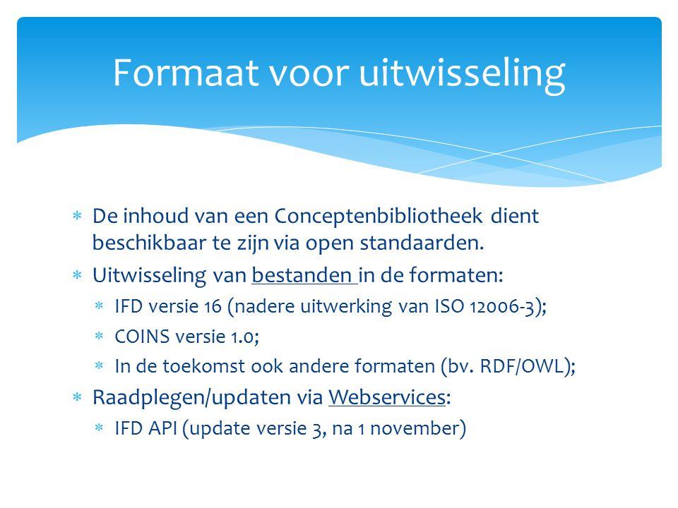  De inhoud van een Conceptenbibliotheek dient beschikbaar te zijn via open standaarden.  Uitwisseling van bestanden in de formaten:  IFD versie 16