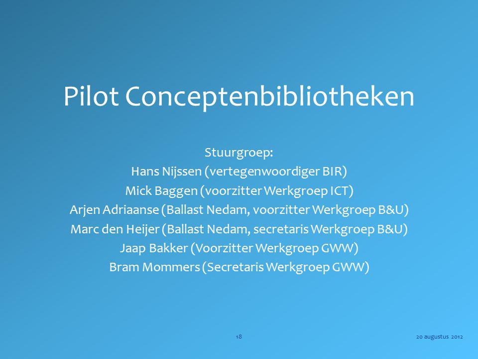 Pilot Conceptenbibliotheken Stuurgroep: Hans Nijssen (vertegenwoordiger BIR) Mick Baggen (voorzitter Werkgroep ICT) Arjen Adriaanse (Ballast Nedam, vo