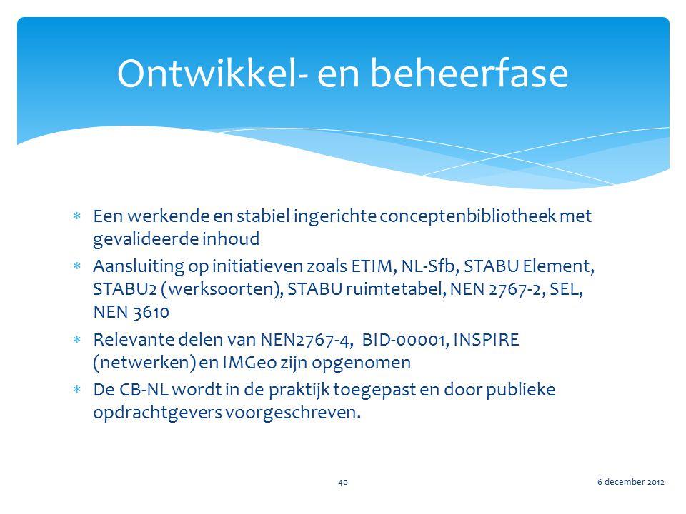 Ontwikkel- en beheerfase 6 december 201240  Een werkende en stabiel ingerichte conceptenbibliotheek met gevalideerde inhoud  Aansluiting op initiati