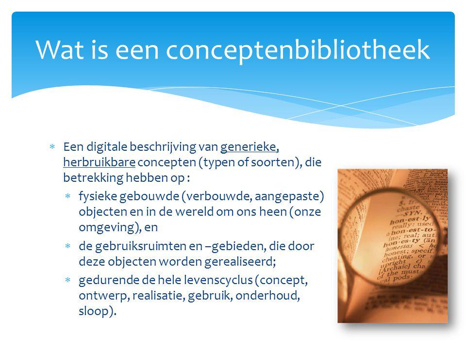 Ontwikkel- en beheerfase 6 december 201240  Een werkende en stabiel ingerichte conceptenbibliotheek met gevalideerde inhoud  Aansluiting op initiatieven zoals ETIM, NL-Sfb, STABU Element, STABU2 (werksoorten), STABU ruimtetabel, NEN 2767-2, SEL, NEN 3610  Relevante delen van NEN2767-4, BID-00001, INSPIRE (netwerken) en IMGeo zijn opgenomen  De CB-NL wordt in de praktijk toegepast en door publieke opdrachtgevers voorgeschreven.