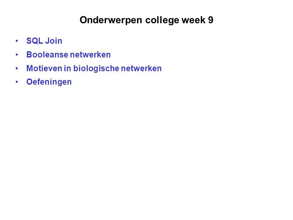 Onderwerpen college week 9 SQL Join Booleanse netwerken Motieven in biologische netwerken Oefeningen