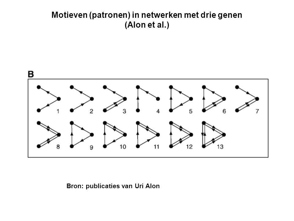 Motieven (patronen) in netwerken met drie genen (Alon et al.) Bron: publicaties van Uri Alon
