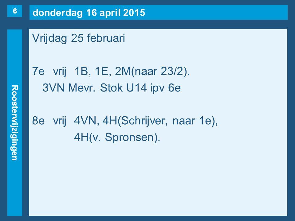donderdag 16 april 2015 Roosterwijzigingen Vrijdag 25 februari 7evrij1B, 1E, 2M(naar 23/2).