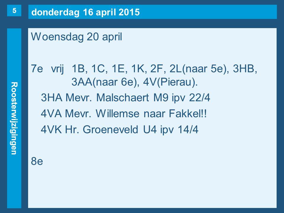 donderdag 16 april 2015 Roosterwijzigingen Woensdag 20 april 7evrij1B, 1C, 1E, 1K, 2F, 2L(naar 5e), 3HB, 3AA(naar 6e), 4V(Pierau). 3HA Mevr. Malschaer