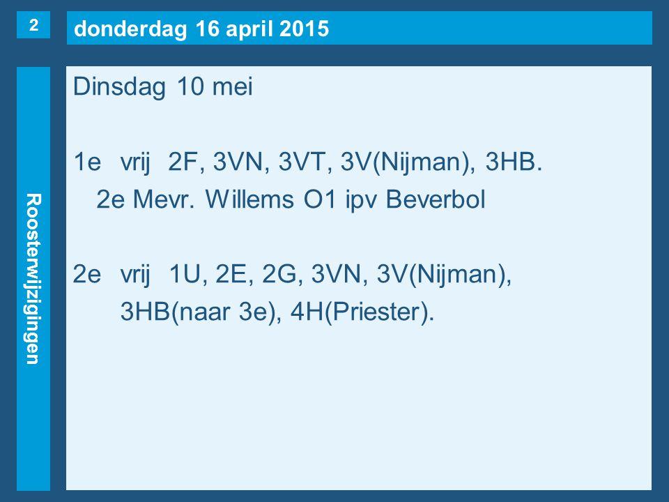 donderdag 16 april 2015 Roosterwijzigingen Dinsdag 10 mei 1evrij2F, 3VN, 3VT, 3V(Nijman), 3HB.