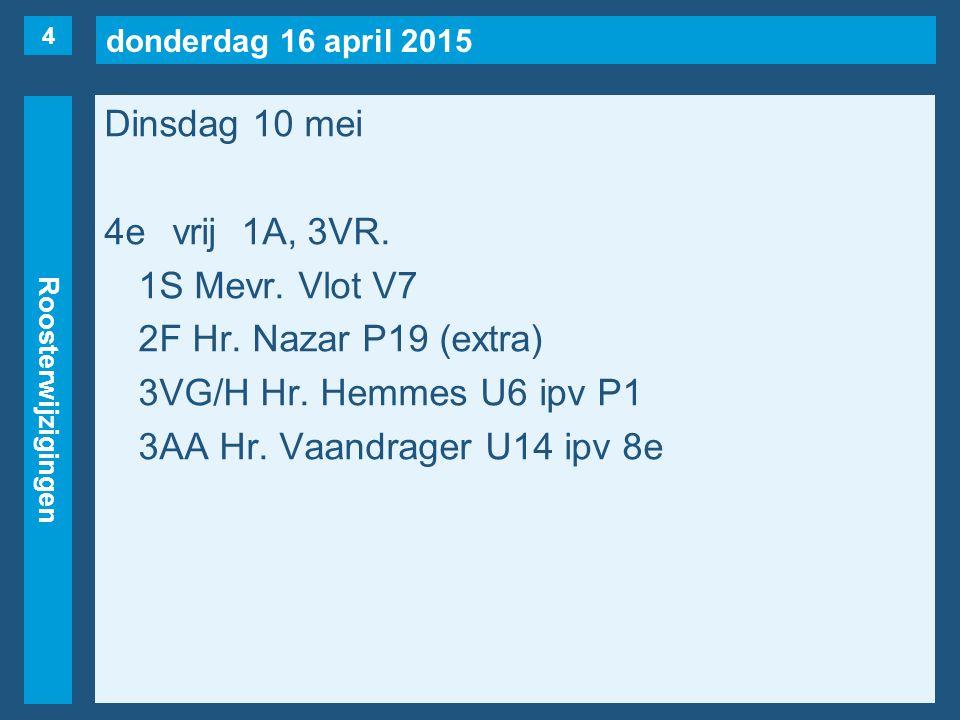 donderdag 16 april 2015 Roosterwijzigingen Dinsdag 10 mei 5evrij1B, 1C, 3VK(naar 3e).