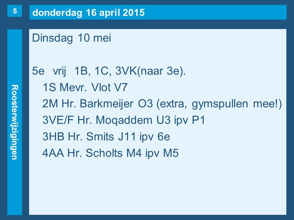 donderdag 16 april 2015 Roosterwijzigingen Dinsdag 10 mei 6evrij1B, 1U, 2F, 3V(Koedood), 3V(bb-me-tb), 3HB(naar 5e), 4AB.