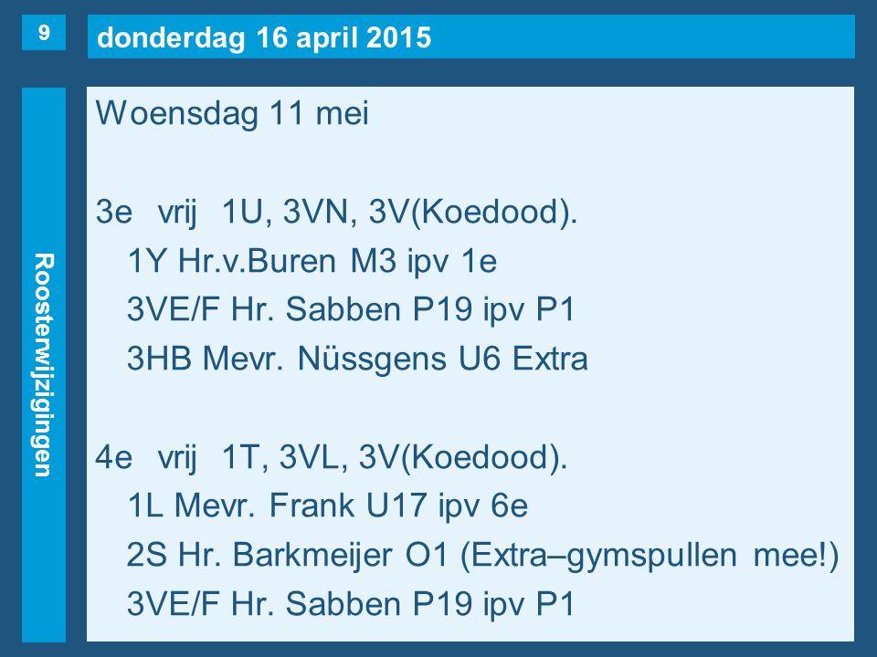 donderdag 16 april 2015 Roosterwijzigingen Woensdag 11 mei 5evrij1K, 1U, 2T, 3VL, 3VR, 3VS, 3VT,3AA.