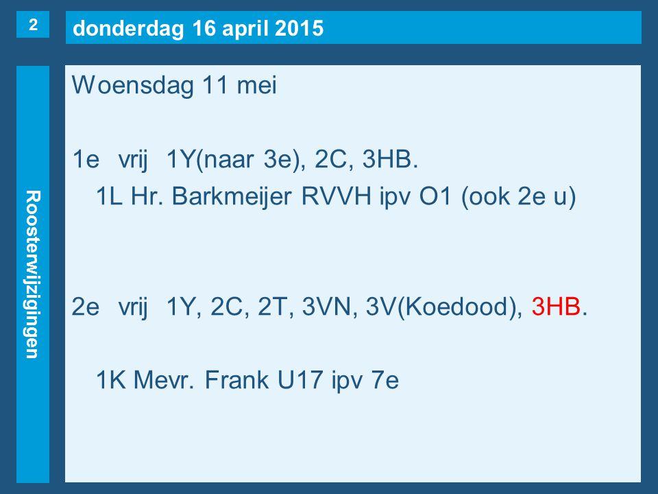 donderdag 16 april 2015 Roosterwijzigingen Donderdag 12 mei 6evrij1B, 1F, 2M, 2S, 2T(naar 4e), 3VS, 2Y(naar 5e), 4H(Priester, maar..) 1STU(Kolbrink) Hr.