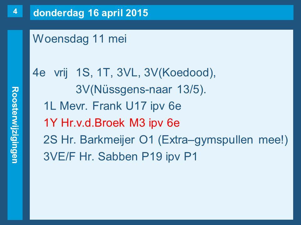 donderdag 16 april 2015 Roosterwijzigingen Woensdag 11 mei 5evrij1K, 1U, 2T, 2Y, 3VL, 3VR, 3VS, 3VT,3AA.