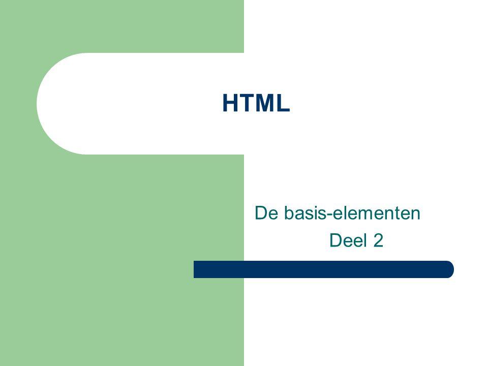 HTML De basis-elementen Deel 2
