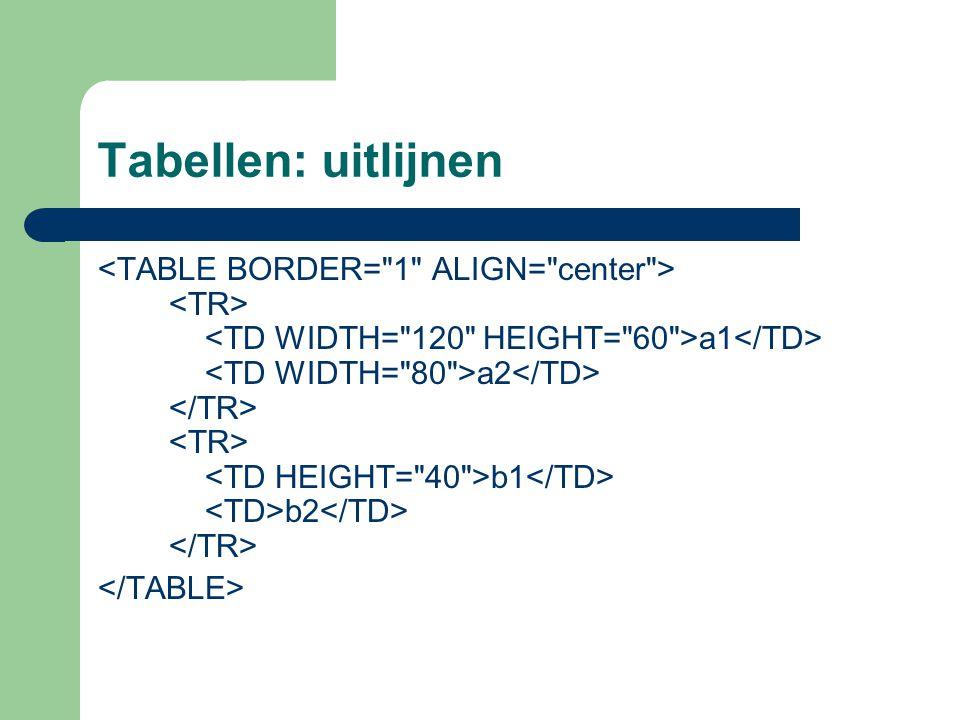 Tabellen: uitlijnen a1 a2 b1 b2