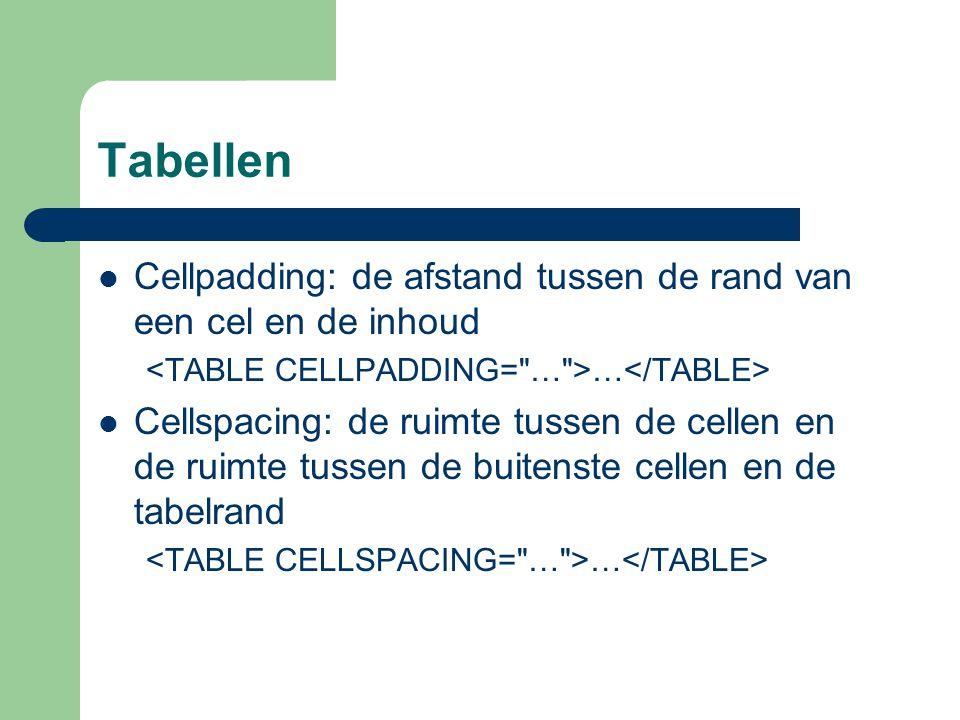 Tabellen Cellpadding: de afstand tussen de rand van een cel en de inhoud … Cellspacing: de ruimte tussen de cellen en de ruimte tussen de buitenste ce