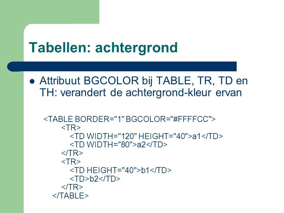 Tabellen: achtergrond Attribuut BGCOLOR bij TABLE, TR, TD en TH: verandert de achtergrond-kleur ervan a1 a2 b1 b2
