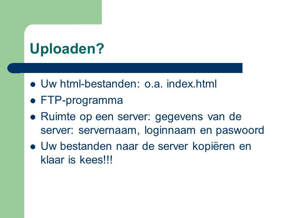 Uploaden? Uw html-bestanden: o.a. index.html FTP-programma Ruimte op een server: gegevens van de server: servernaam, loginnaam en paswoord Uw bestande