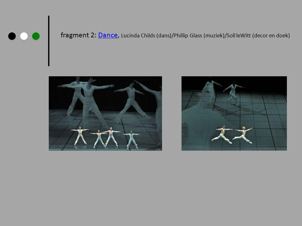 fragment 2: Dance, Lucinda Childs (dans)/Phillip Glass (muziek)/Soll leWitt (decor en doek)Dance