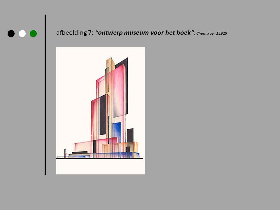"""afbeelding 7: """"ontwerp museum voor het boek"""", Chemikov, ±1920"""