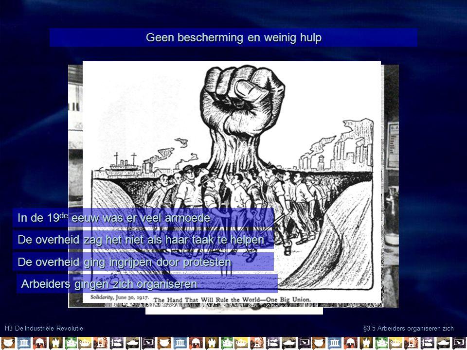 H3 De Industriële Revolutie §3.5 Arbeiders organiseren zich Eendracht maakt macht Vakbonden werden opgericht om sterk te staan -Kortere werkdagen -Hogere lonen -Betere arbeidsomstandigheden Maar: -Tegenwerking door overheid -Ontslag stakers Door: -Overleg -Stakingen Hoogopgeleide arbeiders lukte het beter om hun positie te verbeteren