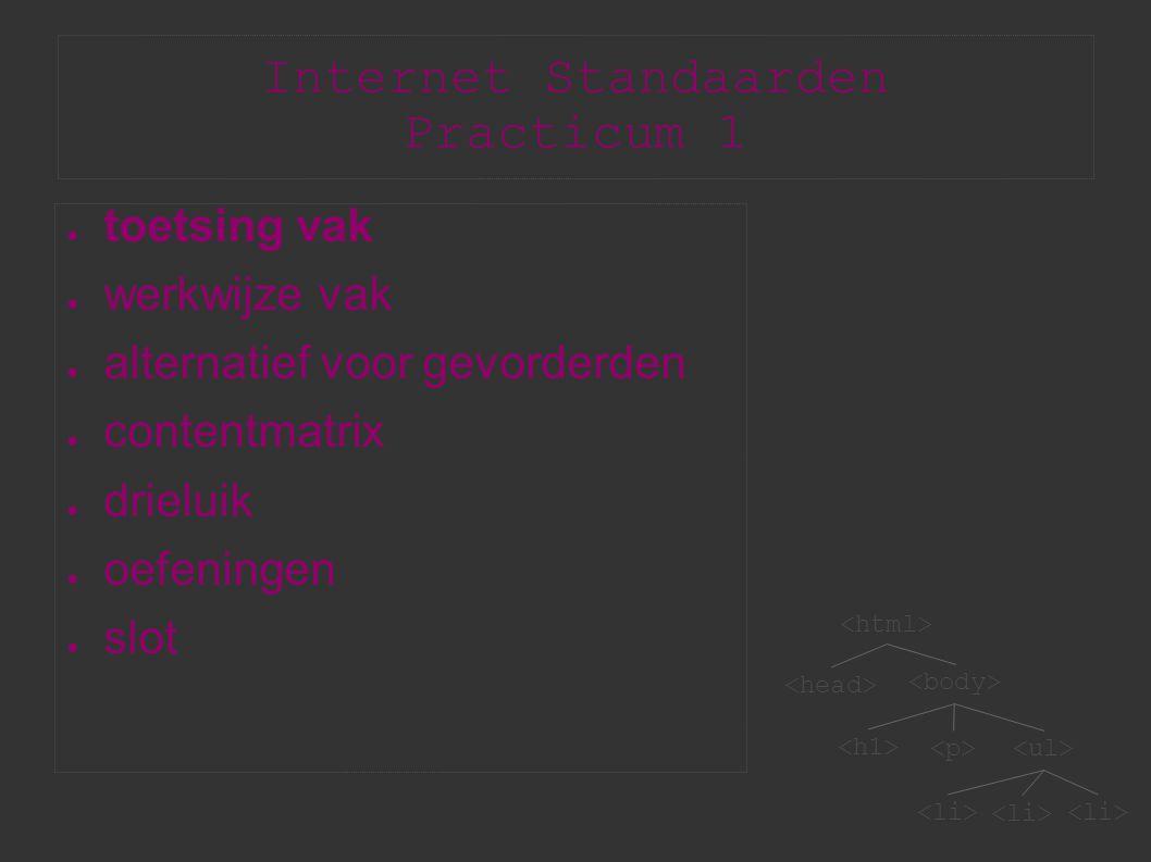 Internet Standaarden Practicum 1 ● toetsing vak ● werkwijze vak ● alternatief voor gevorderden ● contentmatrix ● drieluik ● oefeningen ● slot