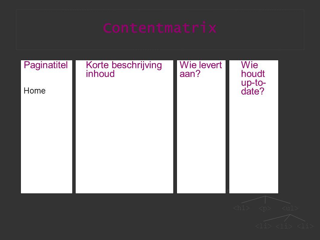 Contentmatrix Paginatitel Home Korte beschrijving inhoud Wie levert aan? Wie houdt up-to- date?