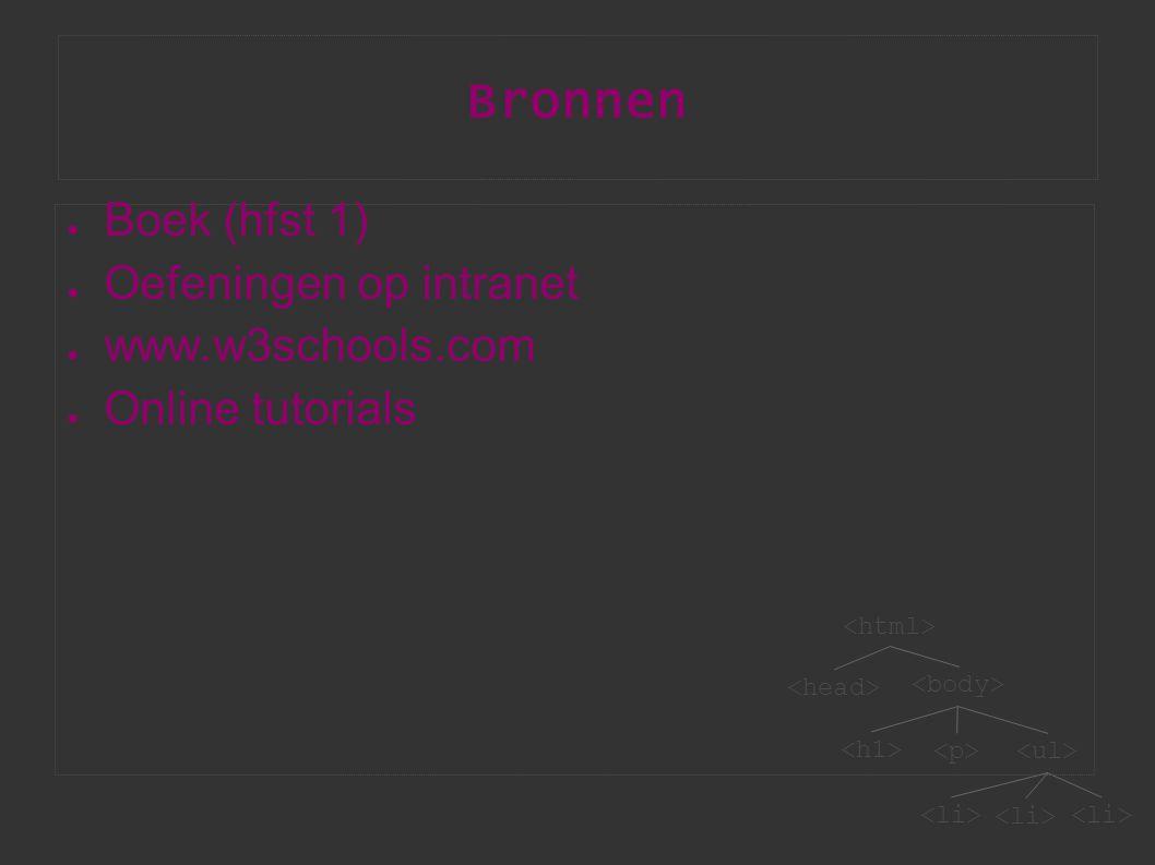 Bronnen ● Boek (hfst 1) ● Oefeningen op intranet ● www.w3schools.com ● Online tutorials