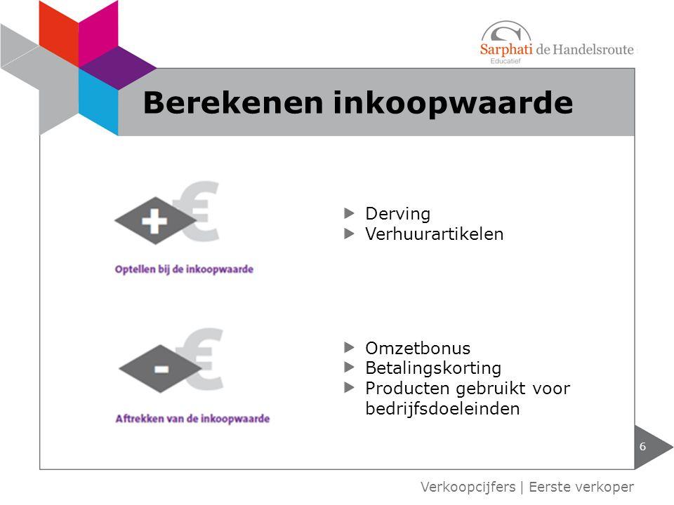 6 Verkoopcijfers | Eerste verkoper Berekenen inkoopwaarde Derving Verhuurartikelen Omzetbonus Betalingskorting Producten gebruikt voor bedrijfsdoelein