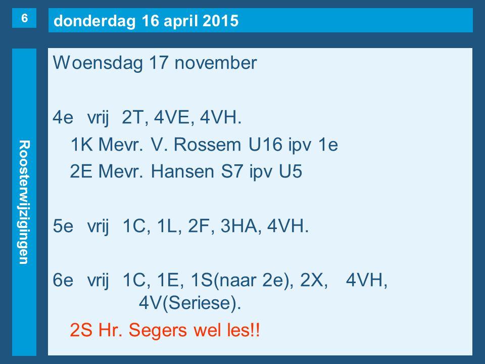 donderdag 16 april 2015 Roosterwijzigingen Woensdag 17 november 7evrij1A(naar 15/11), 1C, 1E, 2B, 3HA, 4VH.