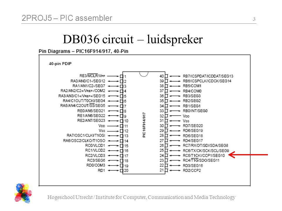 2PROJ5 – PIC assembler Hogeschool Utrecht / Institute for Computer, Communication and Media Technology 24 segment letters PIC pinDisplay Segment RD0A RD1B RD2C RD3D RD4E RD5F RD6G RD7DP let op: active low !