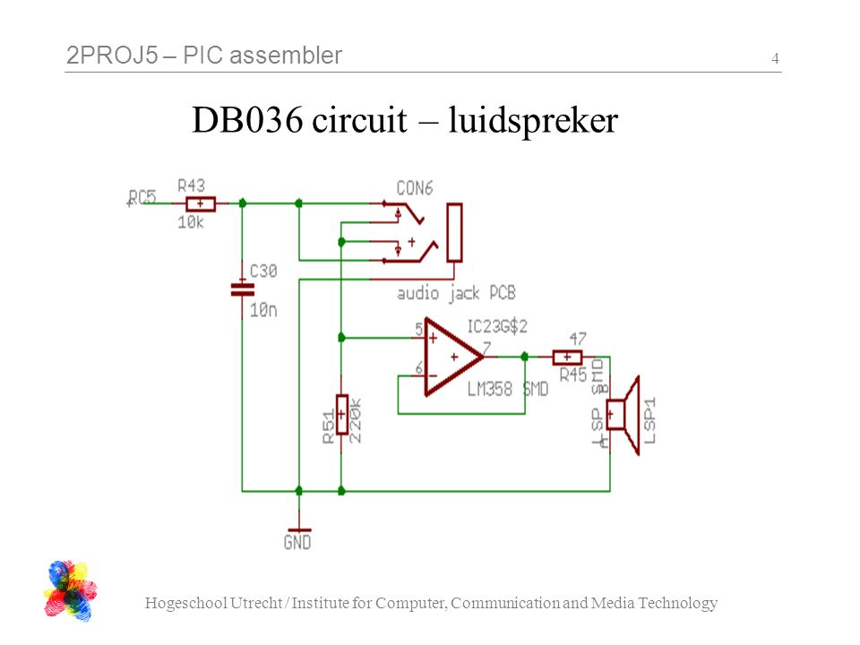 2PROJ5 – PIC assembler Hogeschool Utrecht / Institute for Computer, Communication and Media Technology 15 DB036 circuit – 74HC259 adresseable latch