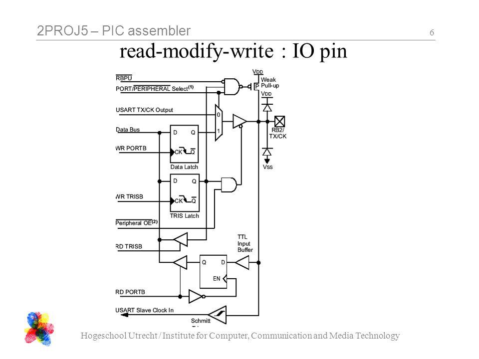 2PROJ5 – PIC assembler Hogeschool Utrecht / Institute for Computer, Communication and Media Technology 27 opdrachten les 4 - 1: beep Maak een programma dat 1 keer een piep laat horen (bv 1/4 seconde op 1 kHz) Piepen is niets anders dan knipperen, maar dan met een luidspreker in plaats van een LED, en wat sneller.