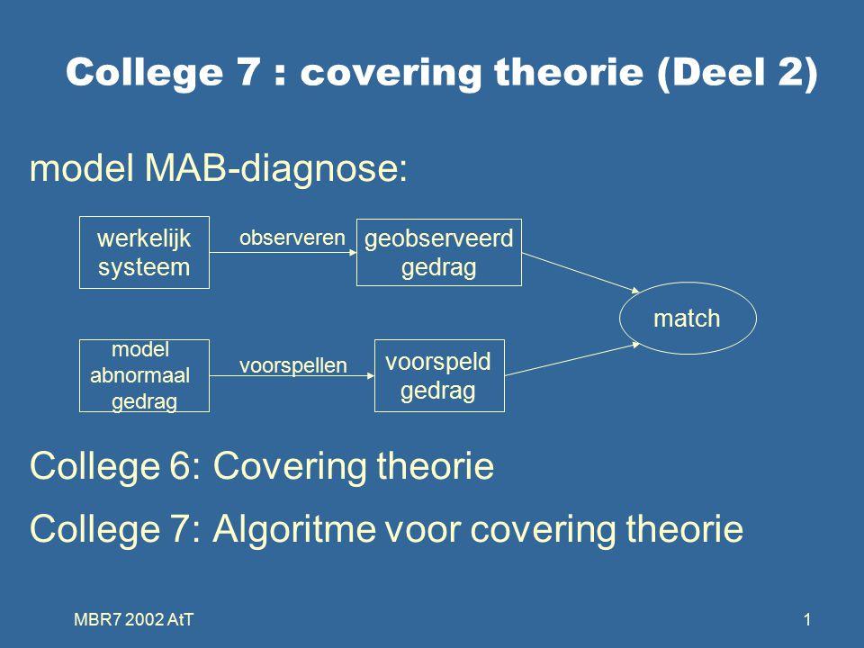 MBR7 2002 AtT1 College 7 : covering theorie (Deel 2) model MAB-diagnose: College 6: Covering theorie College 7: Algoritme voor covering theorie werkelijk systeem model abnormaal gedrag geobserveerd gedrag voorspeld gedrag match observeren voorspellen