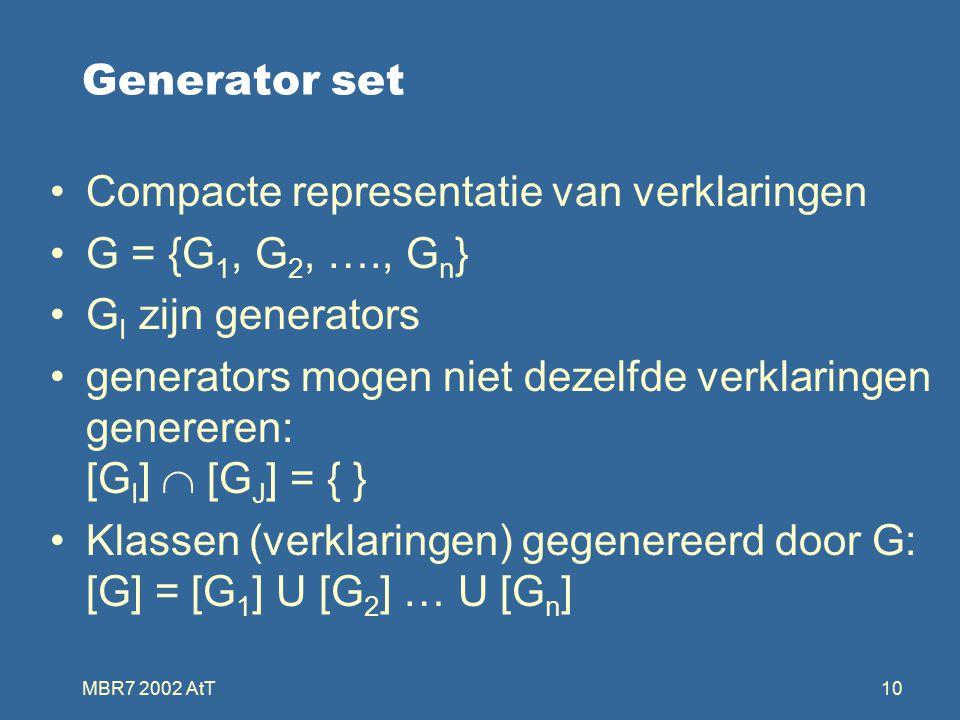 MBR7 2002 AtT10 Generator set Compacte representatie van verklaringen G = {G 1, G 2, …., G n } G I zijn generators generators mogen niet dezelfde verklaringen genereren: [G I ]  [G J ] = { } Klassen (verklaringen) gegenereerd door G: [G] = [G 1 ] U [G 2 ] … U [G n ]