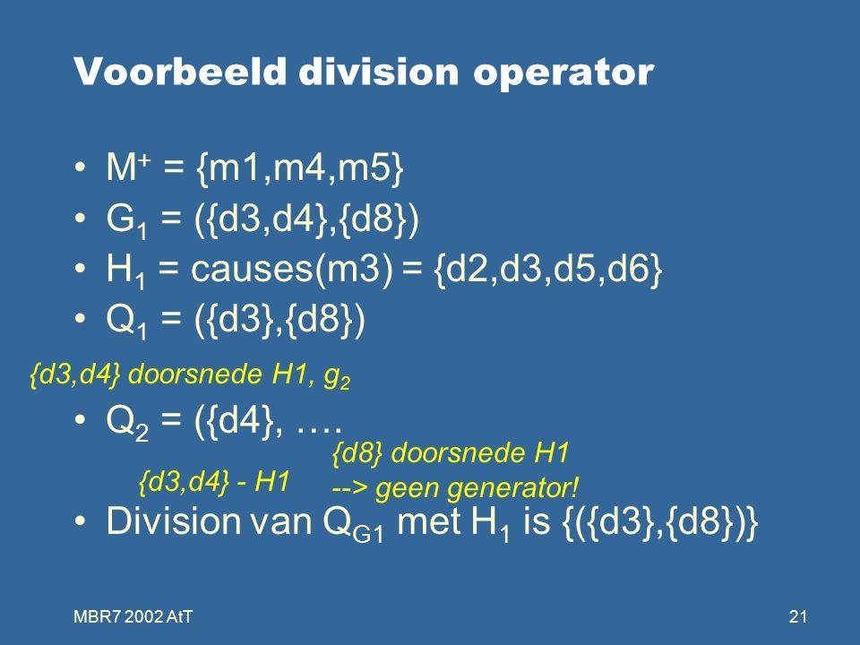 MBR7 2002 AtT21 Voorbeeld division operator M + = {m1,m4,m5} G 1 = ({d3,d4},{d8}) H 1 = causes(m3) = {d2,d3,d5,d6} Q 1 = ({d3},{d8}) Q 2 = ({d4}, ….