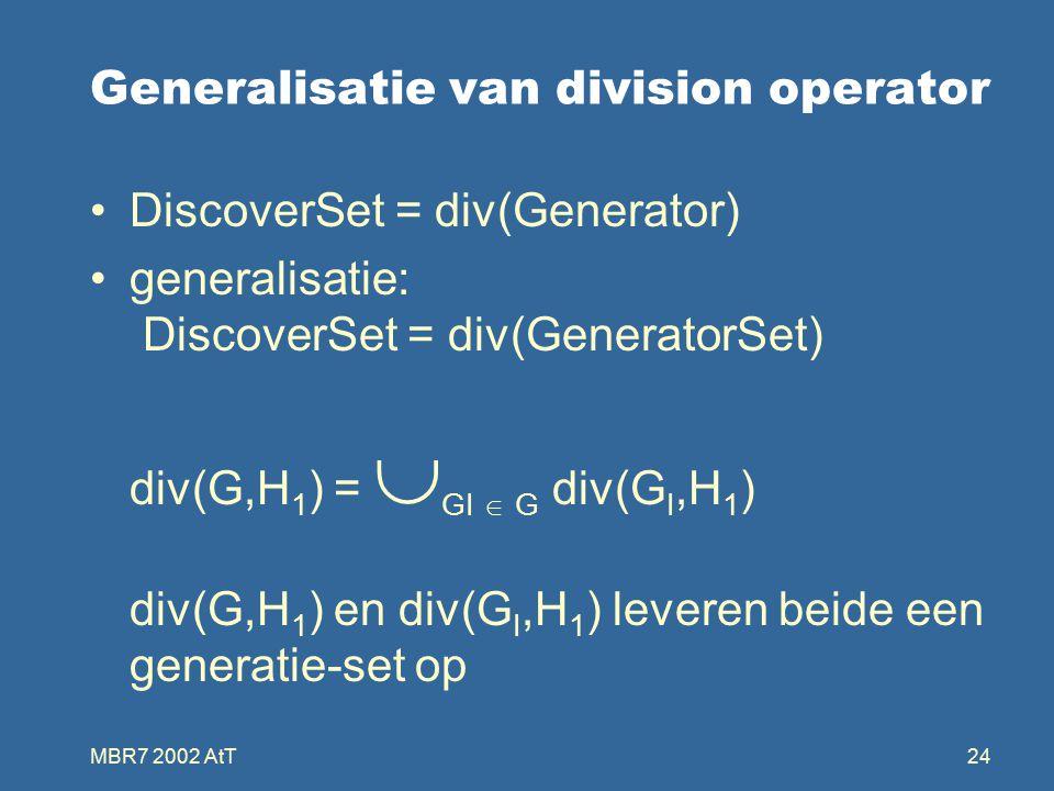 MBR7 2002 AtT24 Generalisatie van division operator DiscoverSet = div(Generator) generalisatie: DiscoverSet = div(GeneratorSet) div(G,H 1 ) =  GI  G div(G I,H 1 ) div(G,H 1 ) en div(G I,H 1 ) leveren beide een generatie-set op