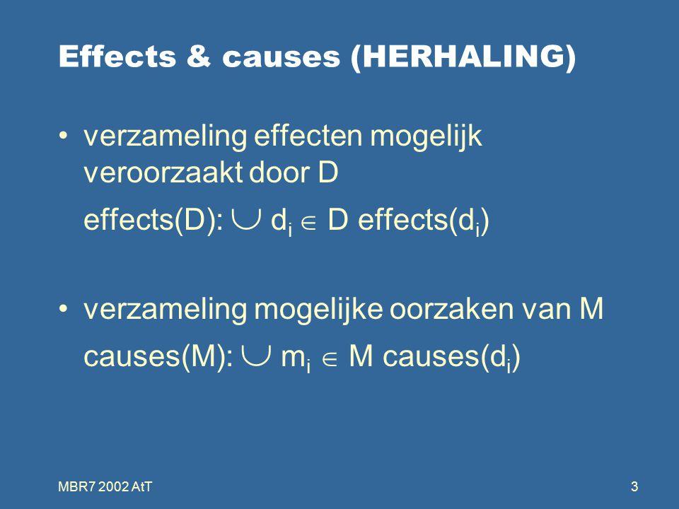 MBR7 2002 AtT3 Effects & causes (HERHALING) verzameling effecten mogelijk veroorzaakt door D effects(D):  d i  D effects(d i ) verzameling mogelijke oorzaken van M causes(M):  m i  M causes(d i )
