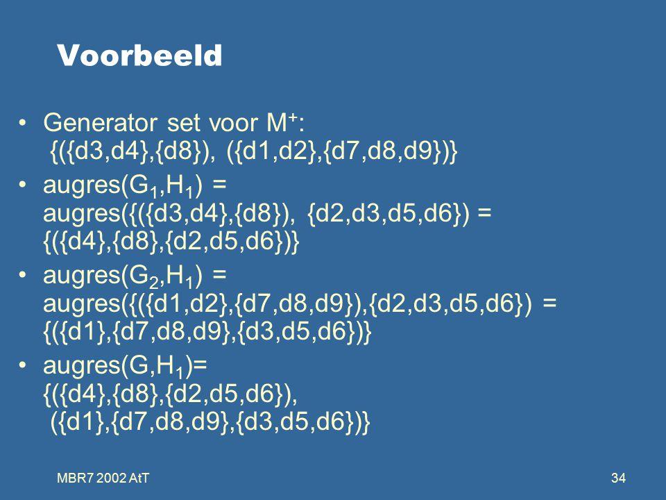 MBR7 2002 AtT34 Voorbeeld Generator set voor M + : {({d3,d4},{d8}), ({d1,d2},{d7,d8,d9})} augres(G 1,H 1 ) = augres({({d3,d4},{d8}), {d2,d3,d5,d6}) = {({d4},{d8},{d2,d5,d6})} augres(G 2,H 1 ) = augres({({d1,d2},{d7,d8,d9}),{d2,d3,d5,d6}) = {({d1},{d7,d8,d9},{d3,d5,d6})} augres(G,H 1 )= {({d4},{d8},{d2,d5,d6}), ({d1},{d7,d8,d9},{d3,d5,d6})}