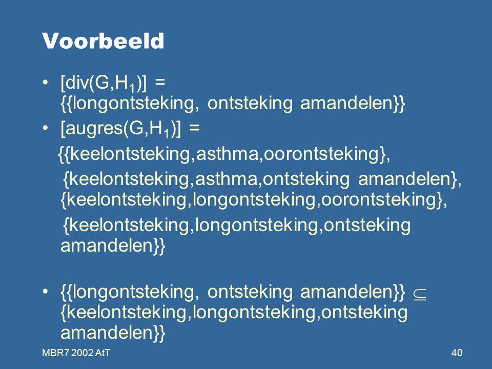MBR7 2002 AtT40 Voorbeeld [div(G,H 1 )] = {{longontsteking, ontsteking amandelen}} [augres(G,H 1 )] = {{keelontsteking,asthma,oorontsteking}, {keelontsteking,asthma,ontsteking amandelen}, {keelontsteking,longontsteking,oorontsteking}, {keelontsteking,longontsteking,ontsteking amandelen}} {{longontsteking, ontsteking amandelen}}  {keelontsteking,longontsteking,ontsteking amandelen}}