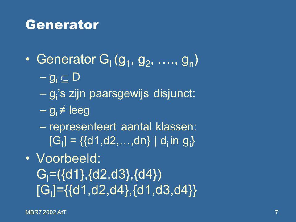 MBR7 2002 AtT7 Generator Generator G I (g 1, g 2, …., g n ) –g i  D –g i 's zijn paarsgewijs disjunct: –g i ≠ leeg –representeert aantal klassen: [G I ] = {{d1,d2,…,dn} | d i in g i } Voorbeeld: G I =({d1},{d2,d3},{d4}) [G I ]={{d1,d2,d4},{d1,d3,d4}}
