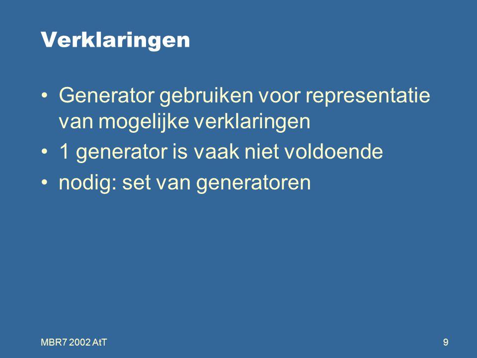 MBR7 2002 AtT9 Verklaringen Generator gebruiken voor representatie van mogelijke verklaringen 1 generator is vaak niet voldoende nodig: set van generatoren