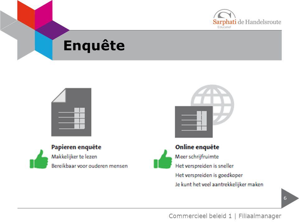 Enquête 6 Commercieel beleid 1 | Filiaalmanager
