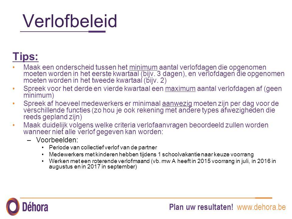 Plan uw resultaten! www.dehora.be Verlofbeleid Tips: Maak een onderscheid tussen het minimum aantal verlofdagen die opgenomen moeten worden in het eer