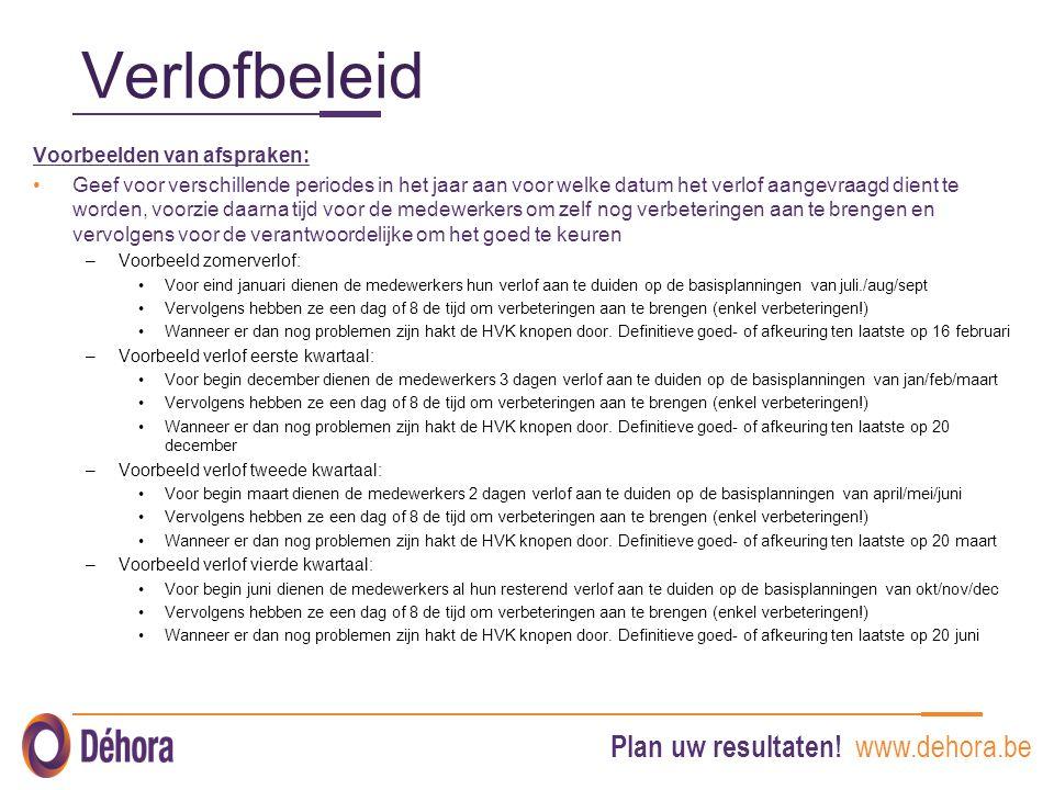Plan uw resultaten! www.dehora.be Verlofbeleid Voorbeelden van afspraken: Geef voor verschillende periodes in het jaar aan voor welke datum het verlof