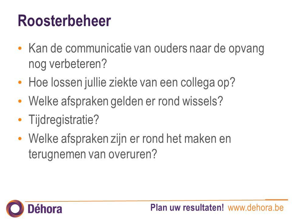 Plan uw resultaten! www.dehora.be Roosterbeheer Kan de communicatie van ouders naar de opvang nog verbeteren? Hoe lossen jullie ziekte van een collega