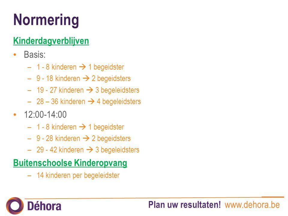 Plan uw resultaten! www.dehora.be Normering Kinderdagverblijven Basis: –1 - 8 kinderen  1 begeidster –9 - 18 kinderen  2 begeidsters –19 - 27 kinder